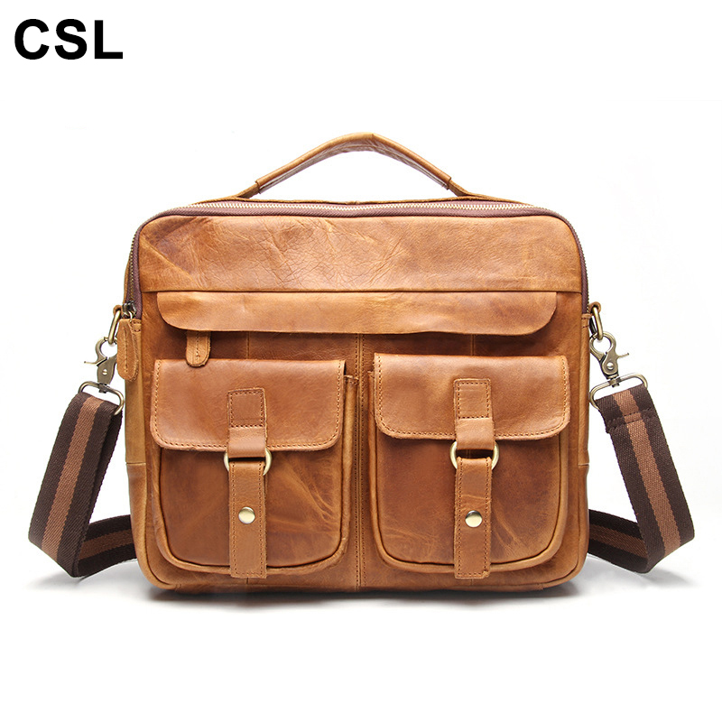 2017 Genuine Leather Men Shoulder Bag Crazy Horse Leather Men Handbags Business Laptop Shoulder Bags Briefcase Messenger bag