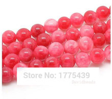 Free Shipping Natural Stone Pink Rose Malaysia Jadee Loose Beads 6 8 10 MM Pick Size For Jewelry Making(China)
