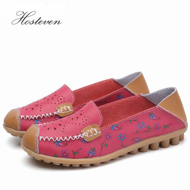 Hosteven النساء الأحذية جلد طبيعي الإناث الشقق تنفس المرأة عارضة المتسكعون الترفيه قارب الأحذية الأخفاف القيادة الأحذية