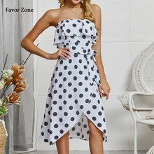 Women Long Maxi Dress Summer Polka Dot Ruffles Strapless Boho Beach Dress Sleeveless Evening Party Dresses Tunic Sexy Sundress цена и фото