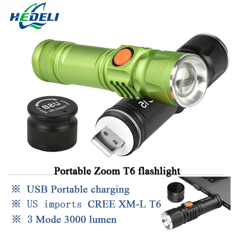 portable light mini USB flashlight CREE XM-L T6 LED torch rechargeable 18650 Built-in battery waterproof flash light 3000 lumen 2016 newest flashlight led cree xm l2 flash light 4 mode torch bike bicycle light outdoor lighting 18650 battery mount holder