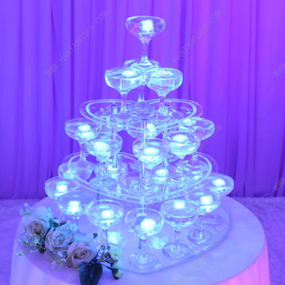 Party wine tower, three tiers heart shaped champagne tower, festive party supplies, wedding decoration