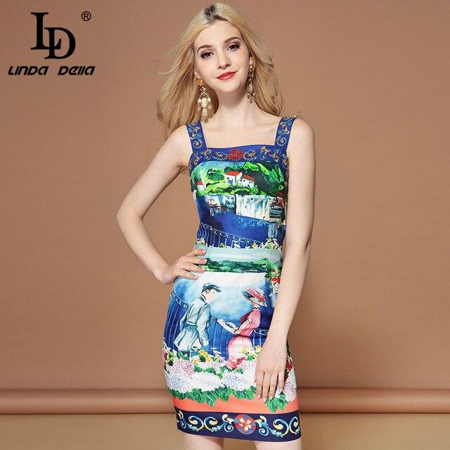 LD LINDA DELLA 2019 Fashion Runway Summer Dress Women's Spaghetti Strap Crystal Beading Print Casual Holiday Mini Short Dress