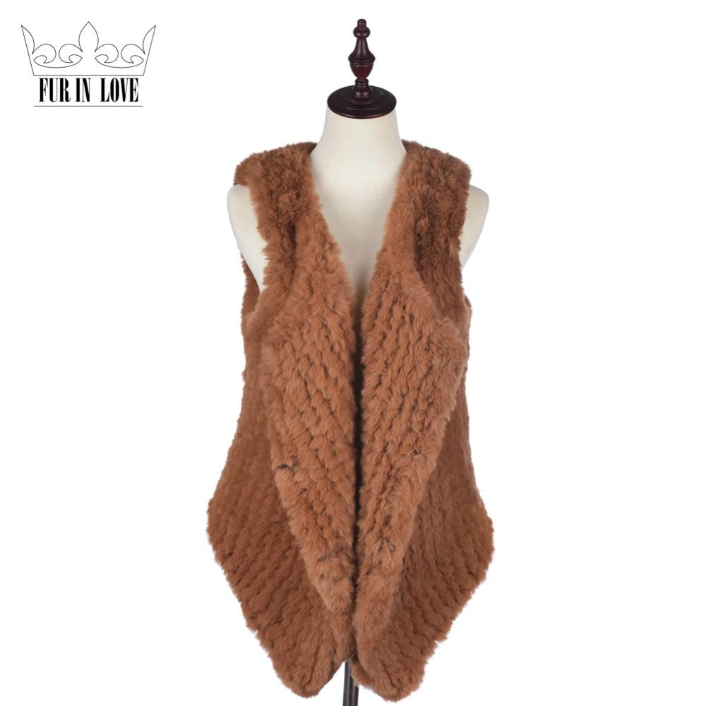 Fashion Faux Rex Rabbit Short Fur Vest Cute Fake Knitted Rabbit Fur Gilet Sleeveless Coats Slim