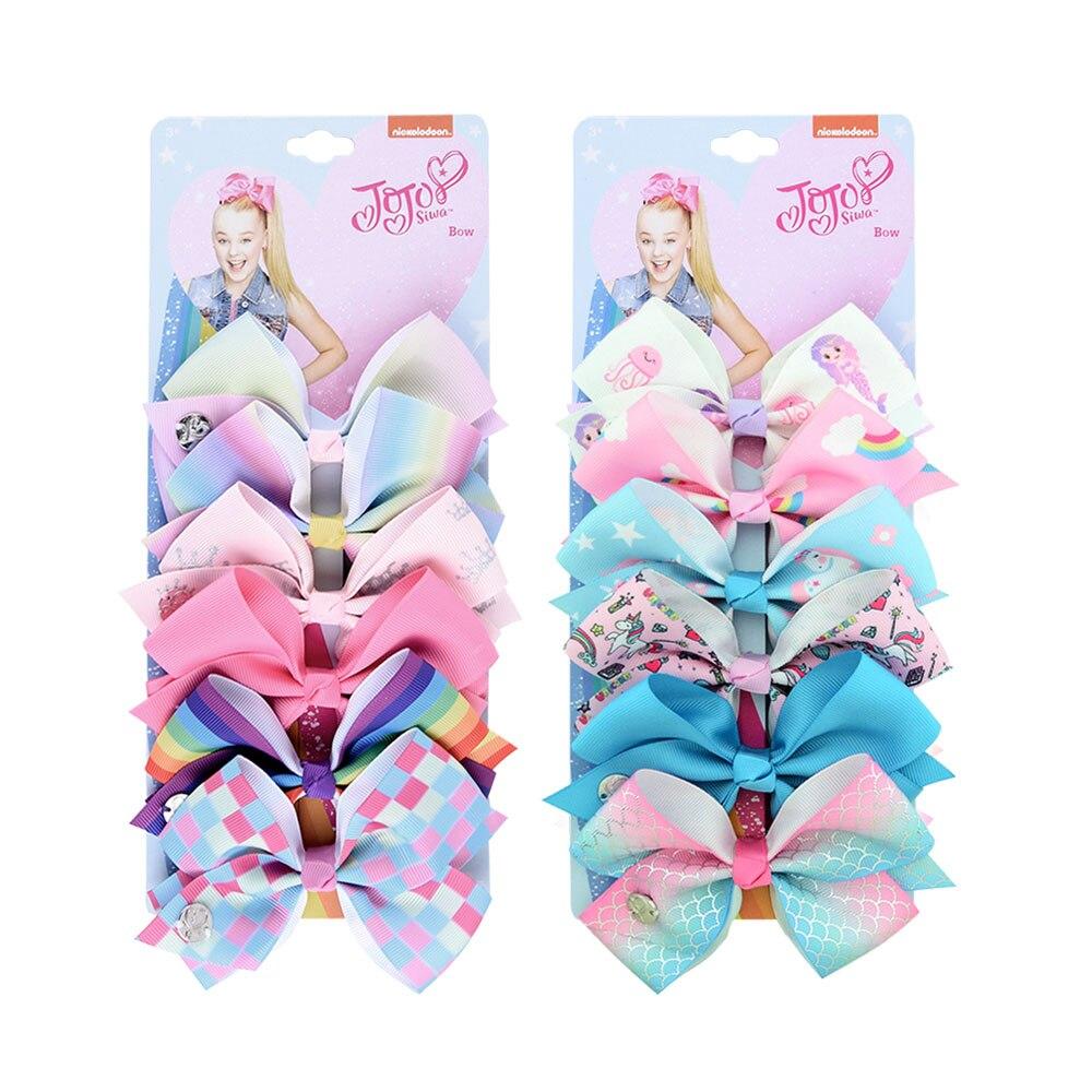 6 Pieces/Set JoJo Bows Jojo Siwa Rainbow Printed Knot Ribbon Bow For Girls Handmade Boutique Hair Clip Children Hair Accessories(China)