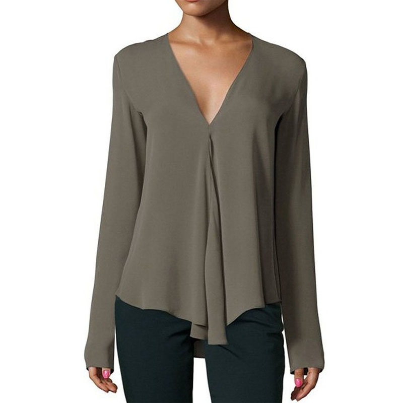 Autumn Stylish Women Chiffon Blouse Shirt 2018 V-Neck Long Sleeve Female Tops Casual Solid Color Woman Plus Size Clothing