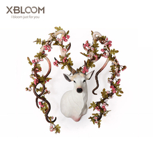 Flower Deer Sculpture Art Animal statue home decoration accessories House decorated wedding party vase