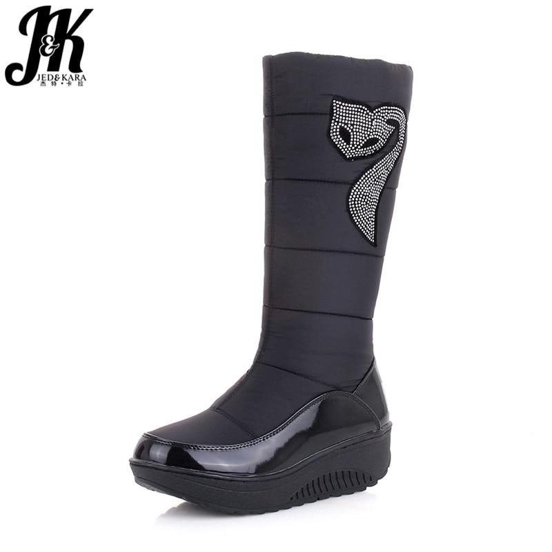 J&K 2018  New Winter Russia Keep Warm Snow boots Cotton Shoes Woman Fashion Platform Down Winter Boots Rhinestone Mid Calf Boots