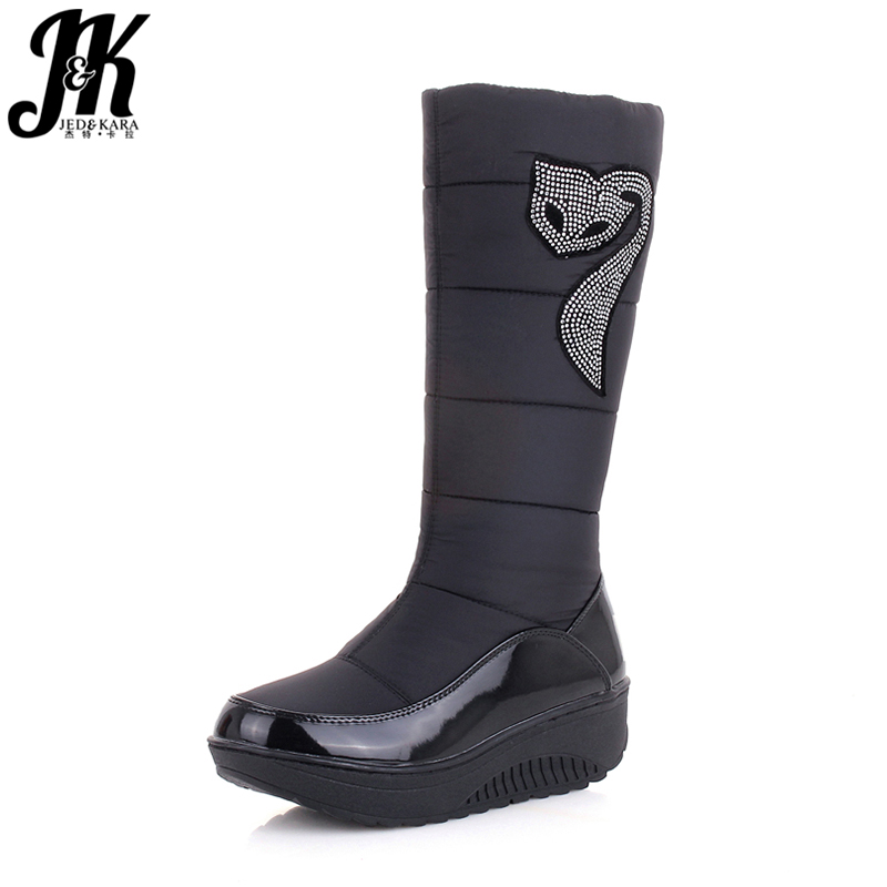 J&K 2018 New Winter Russia Keep Warm Snow boots Cotton Shoes Woman Fashion Platform Down Winter Boots Rhinestone Mid Calf Boots