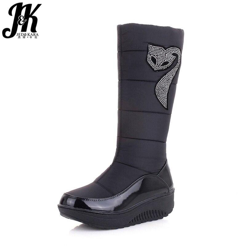 J & K 2018 Nouveaux Hiver Russie Garder Au Chaud bottes de Neige Coton Chaussures Femme Plate-Forme de Mode Vers Le Bas Bottes D'hiver Strass mi-mollet Bottes