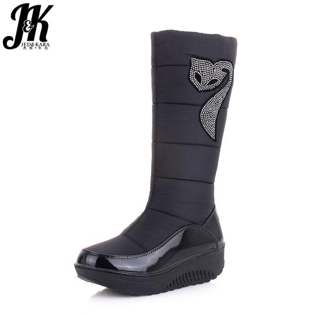 J & K 2018 nuevo invierno Rusia mantener calientes botas de nieve zapatos de algodón Mujer moda plataforma abajo botas de invierno Rhinestone botas de media pantorrilla