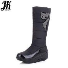J & K Neue Winter Russland Warm Schnee stiefel Baumwolle Schuhe Frau Mode-plattform Unten Winter Stiefel Strass Mittlere kalb Stiefel