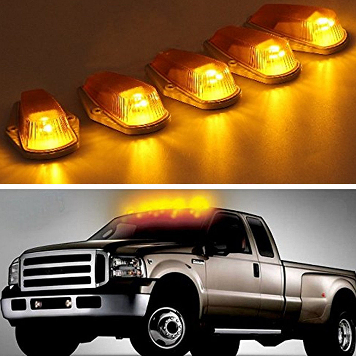Cab Marker Top Roof Light Cover 5x Transparent for Ford 1980 1997 F150 F250 F350 No lights ABS+PC UV Resistant Waterproof 12V