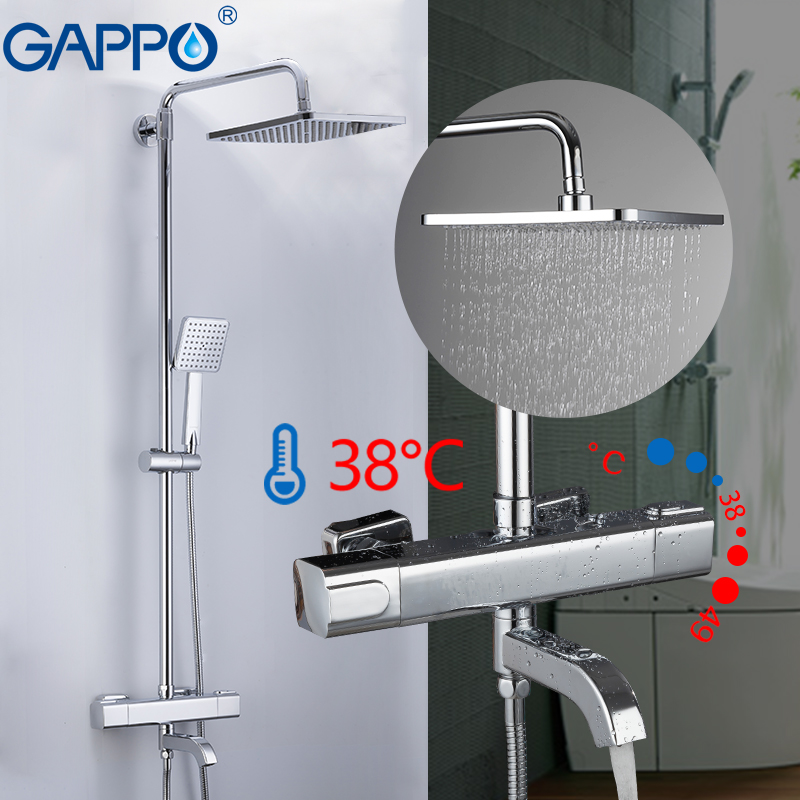 GAPPO Bathtub faucets thermostatic shower set wall mountde bathroom chrome faucet waterfall Shower Mixers thermostat taps gappo bathtub faucet thermostatic shower mixers in wall faucets shower faucet thermostatic thermostat taps