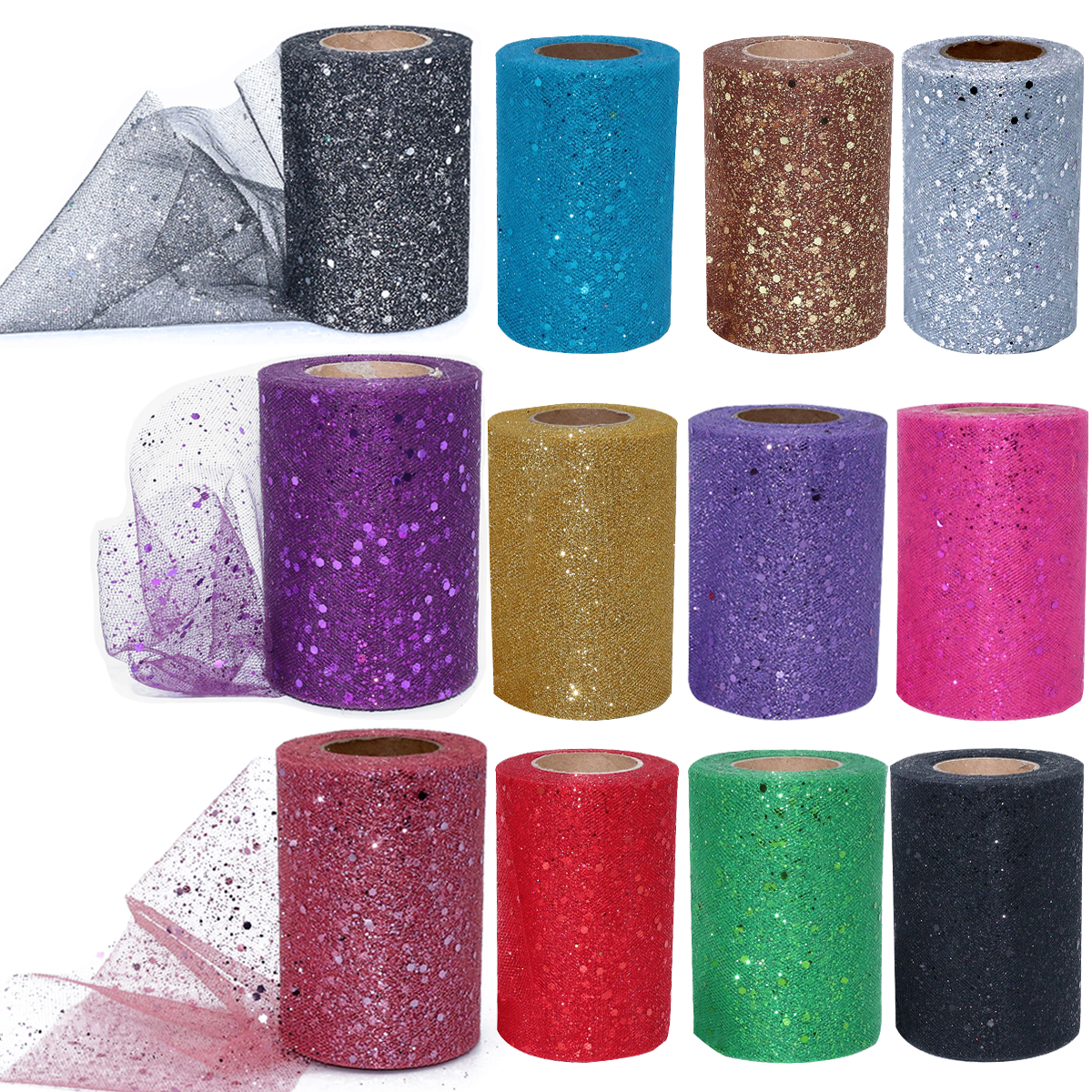 Taoup 5cm 15cm 30cm Organza Tulle Roll Wedding Party Decor Birthday Babyshower Sequin Mesh Fabric Ribbon 25Yards DIY
