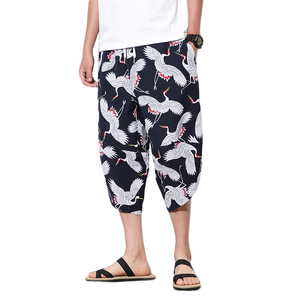 2020 Summer Chinese Style Hip Hop Pants Men Print Plus Size Linen Harem Pants Trousers Wide Leg Sweat Pants White Black