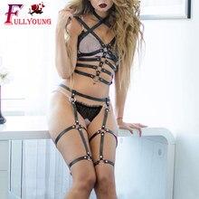 Fullyoung 2PCS Set Belt Waist Bust Garter Handmade Body Cage Punk Goth To Leg Adjust Harness Leather