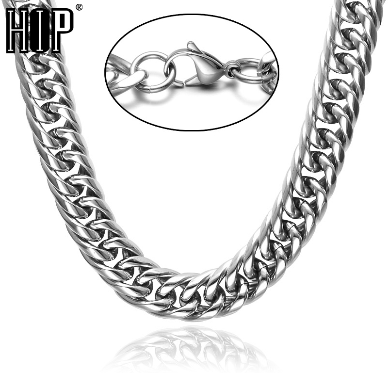 HIP Hop 24 INCH 16MM CUT Lobster Buckle Heavy Titanium Stainless Steel Double Curb Cuban Link Chain Necklaces for Men Jewelry