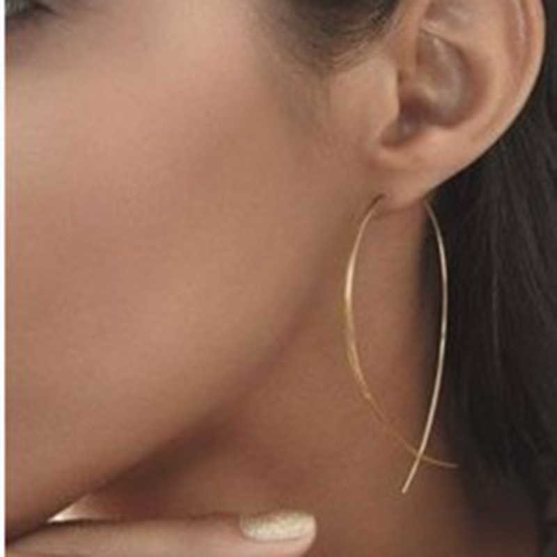 HOMOD 2019 Geometric New Fish Shaped Stud Earrings Simplicity Handmade Copper Wire Earring for Women Brincos de gota Feminino