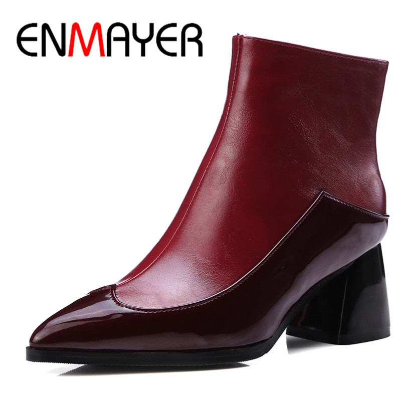 ФОТО ENMAYER White Shoes Zippers High Heels Large Size 34-43 Winter Boots  Pointed Toe Shoes Woman Sexy Red Ankle Boots for Women