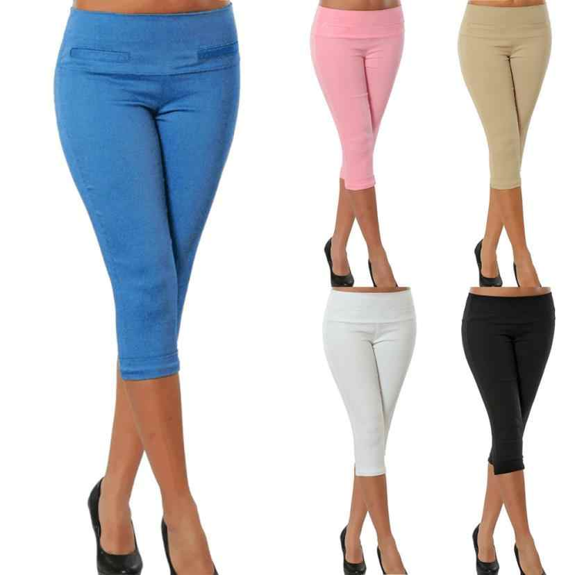 WOMAIL Women Calf Length Pants Solid Pocket Casual Elastic Pants Casual Cropped Women Trousers Plus Size 5Colors S-5XL 18Aug17