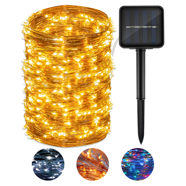 CHIZAO LED String Lights Solar Decorative Lights for Bedroom Patio Garden Gate Yard Parties Christmas Copper Wire Lights Holiday