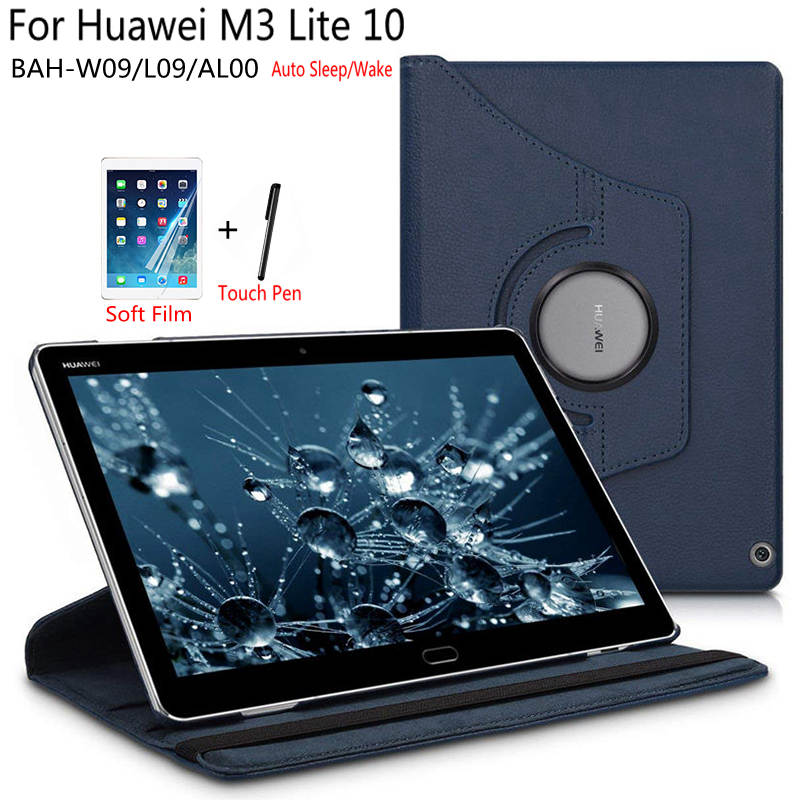 Premium Rotating PU Leather Smart Case For Huawei MediaPad M3 Lite 10 BAH-W09/L09/AL00 10.1