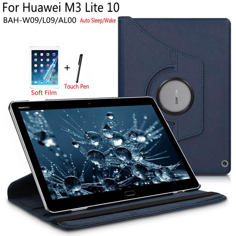 Premium Rotating PU Leather Smart Case For Huawei MediaPad M3 Lite 10 BAH-W09/L09/AL00 10.1