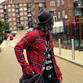 2015 Autumn England style Bar nightclub wild red plaid shirts for men Mixed colorsCasual long-sleeved grid shirts men size M-XL