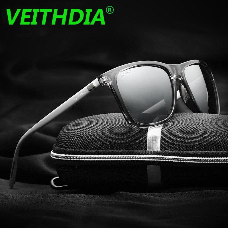 VEITHDIA Značka LOGO Retro Aluminium TR90 Sluneční brýle Polarizované Pánské Pánské Pánské Doplňky Brýle Brýle 6108