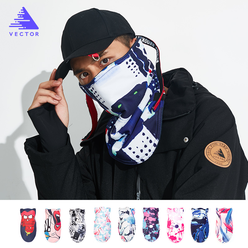 VECTOR Men Women Thermal Fleece Skiing Bibs Windproof Snowboard Warmer Face Mask Bike Snowboard Triangular Scarf Skiing Mask