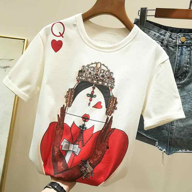 Zuolunouba Playing Cards In Harajuku T Shirt Women New Casual Short Sleeve Summer Tees Tops Loose