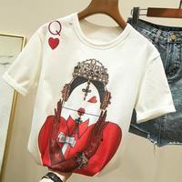 Zuolunouba игральные карты в Harajuku футболка для женщин новые повседневные Летние футболки с коротким рукавом топы Свободные