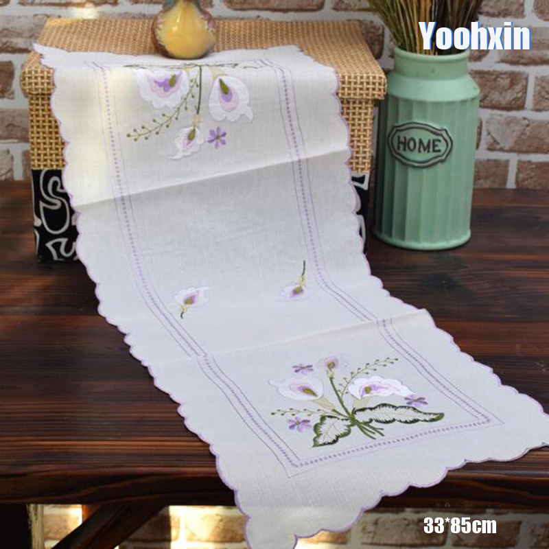 33*85CM Modern White Cotton Embroidery Bed Table Runner Cloth Cover Dining Lace Tea Coffee Tablecloth Hotel Home Wedding Decor