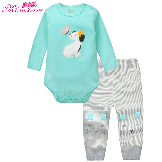 Momscare 100% Cotton Baby Clothing Set Animal Embroidery Boys Girls Full Sleeves Bodysuit Pants Infant Suits Kid Outfit Clothes