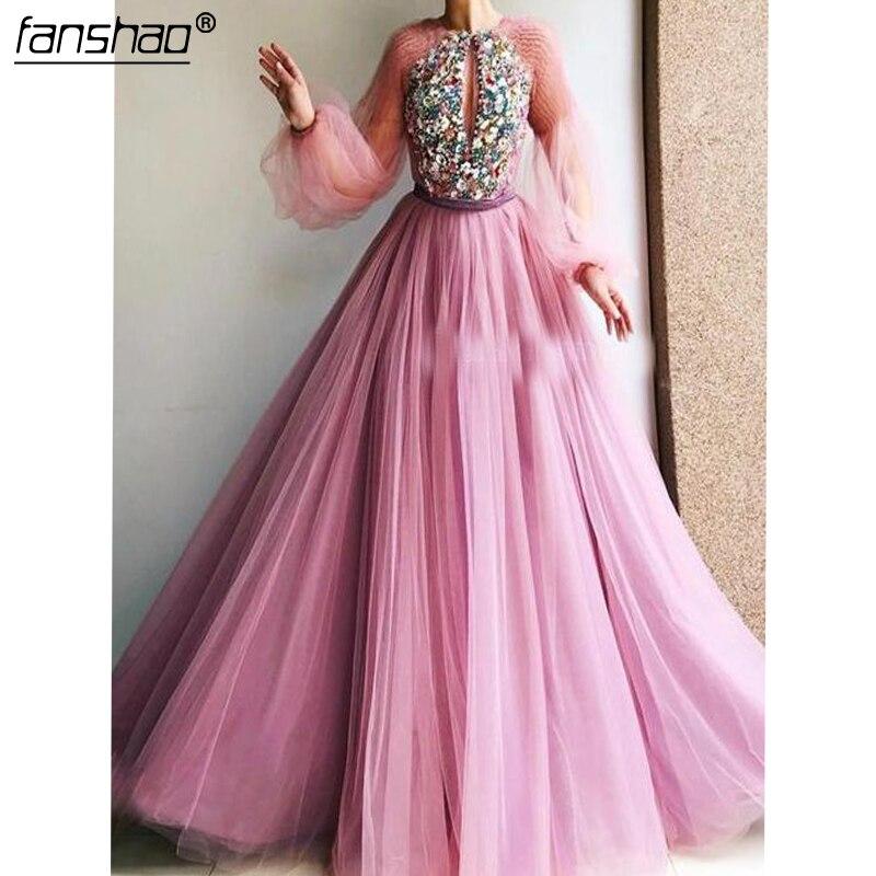 Pink Muslim Evening Dresses A-Line Beads Flowers Long Sleeves Illusion Islamic Dubai Saudi Arabic Long Evening Gown Prom Dress