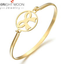 BRIGHT MOON 2019 New Fashion Rose Gold Bangle Bowknot Bracelet Minimalistic Angel Girl for Women Best Gift