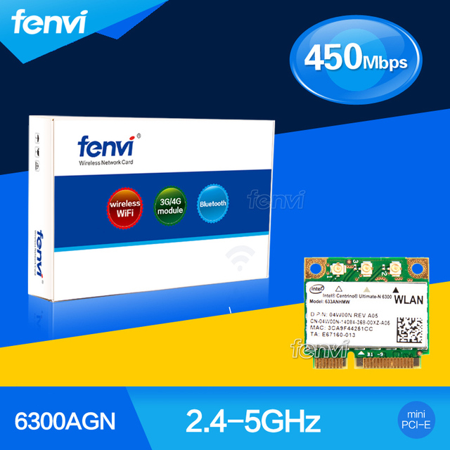 Fenvi Laptop Wlan for Intel 633ANHMW Centrino Ultimate N Dual band 450Mbps  Wireless Hotspot 802 11a/g/n Wifi Mini PCI e Card-in Network Cards from