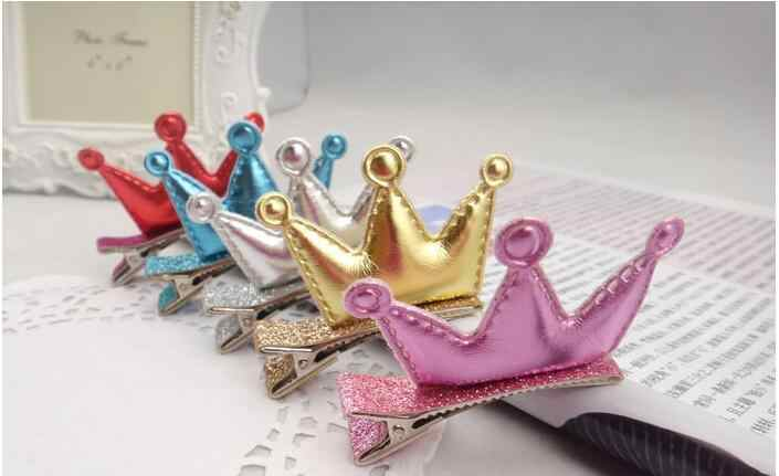 Horquillas para niñas PU lisas Tiaras Barrettes encantador diseño de corona flecos Clips para el cabello regalos para niños para accesorios de tocado