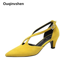 Ouqinvshen Cross-tied Summer Sandals 2019 Yellow Pointed Toe Kid Suede Party Sexy Sandals High Heels Buckle Strap Ladies Shoes