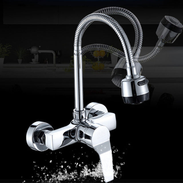 wall mounted kitchen faucet wall kitchen mixers kitchen sink tap 360 degree swivel flexible hose double holes - Kitchen Mixers