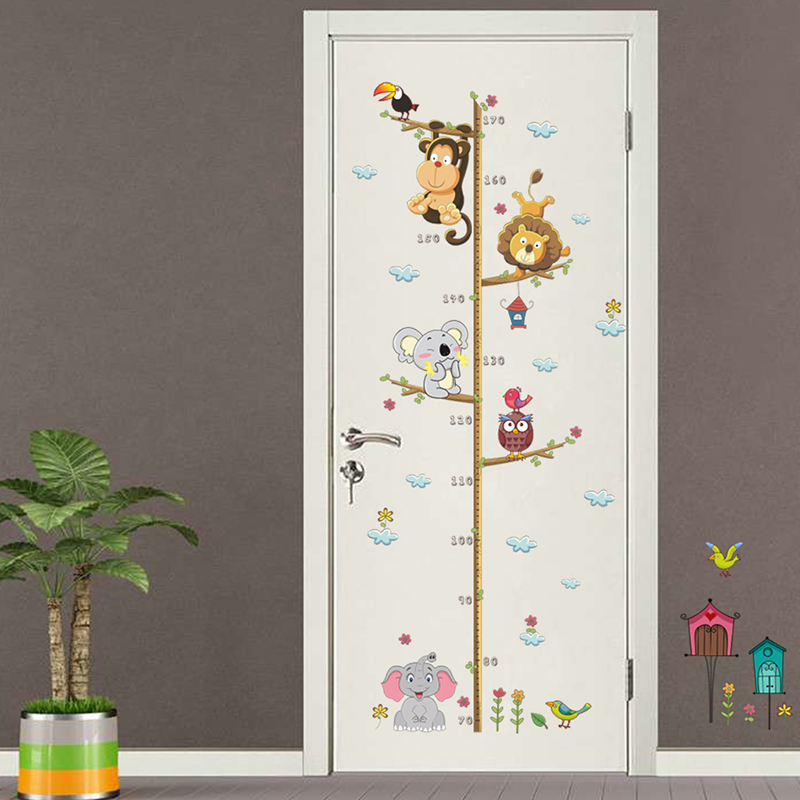 Jungle Animals Lion Monkey Owl Height Measure Wall Stickers For Kids Rooms Growth Chart Nursery Rooms Decor Wall Decals PVC Art