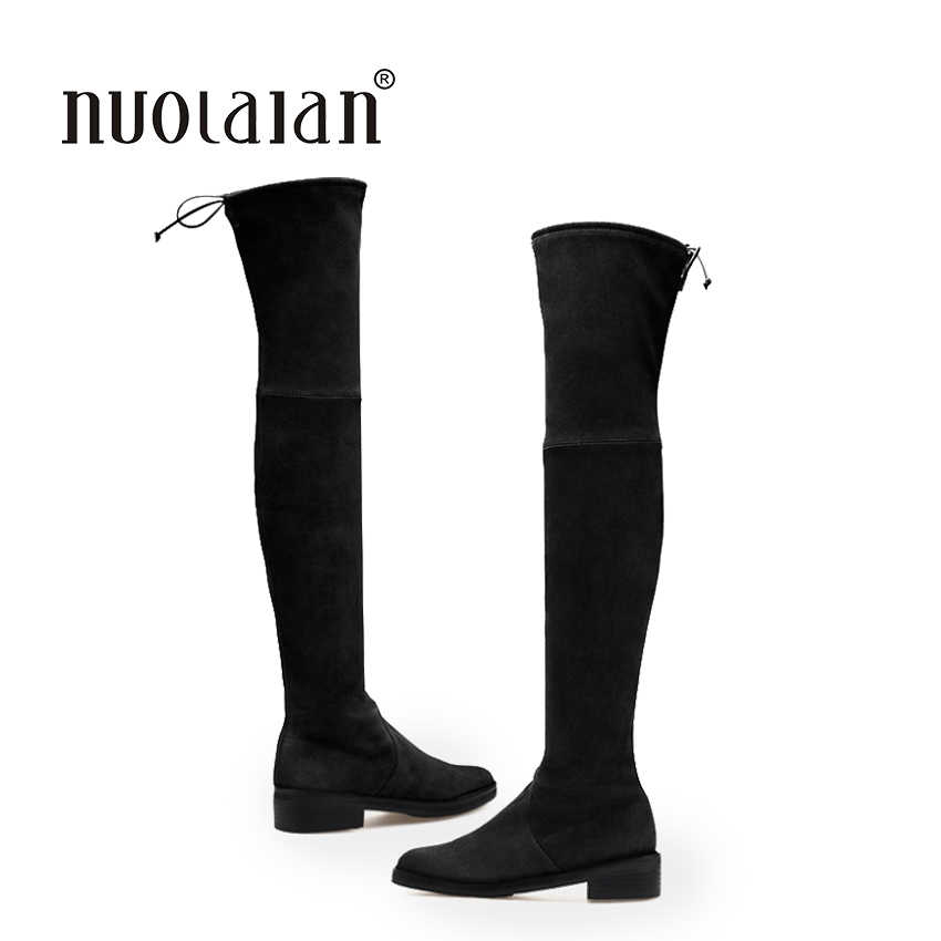Kobiety nad kolana buty zamszowe udo wysoki but buty 2018 jesień zima moda damska futro ciepłe grube buty pięty buty śniegowce kobieta