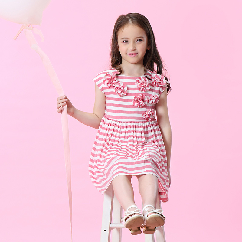 WL.MONSOON Children's Girls 2018 summer clothes New dress Korean striped flower princess dress hidden pocket striped dress