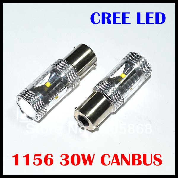 Free Shipping 2 Piece/lot Canbus error free Cree chips led 30W 1156 led canbus ba15s led 12v led  backup lights ruiandsion 2x75w 900lm 15smd xbd chips red error free 1156 ba15s p21w led backup revers light canbus 12 24vdc