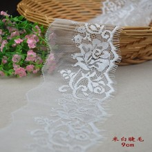 DIY black embroidery lace 9.7cm width fabric water soluble trim free shipping YY685