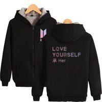 New Album Zipper Sweatshirt Women Thicken Bangtan Boys Women Hoodies And Sweatshirt BTS Love Yourself Her