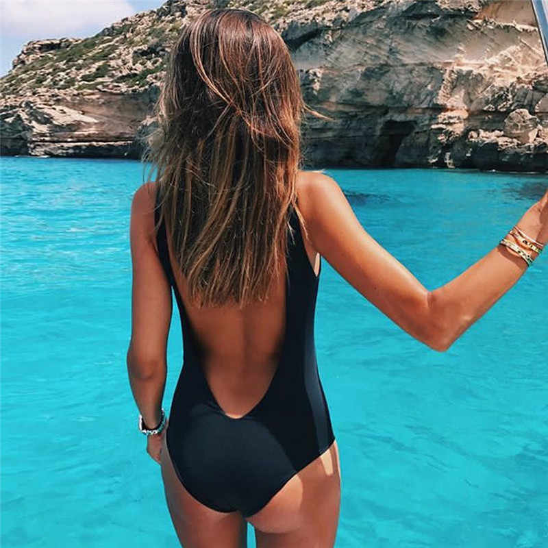 7e3d807b0dd0d ... Bikini 2018 Swimsuit Women Retro Elastic High Cut Low Back One Piece  Swimwear Bathing Suits Push ...