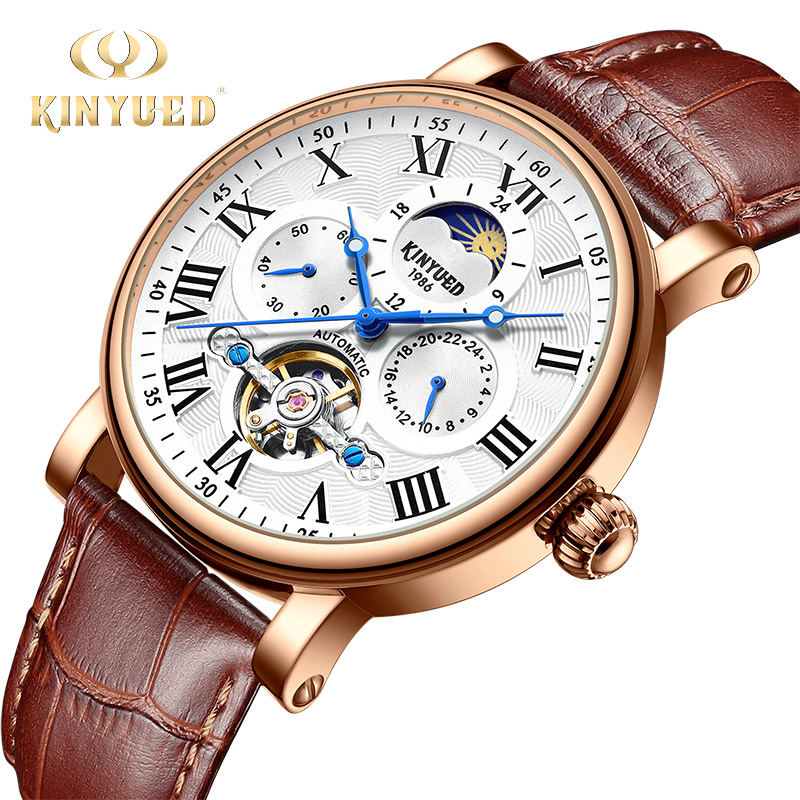 KINYUED Fashion Brand Tourbillon Mechanical Watch Men Automatic Waterproof Skeleton Leather Moon Phase Watch Gold Montres