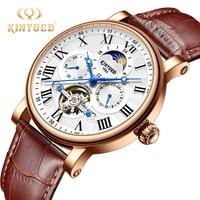Reloj Mecánico Tourbillon de marca de moda KINYUED para hombre  reloj automático de cuero con forma de luna resistente al agua  reloj Montres de oro para hombre|Relojes mecánicos| |  -